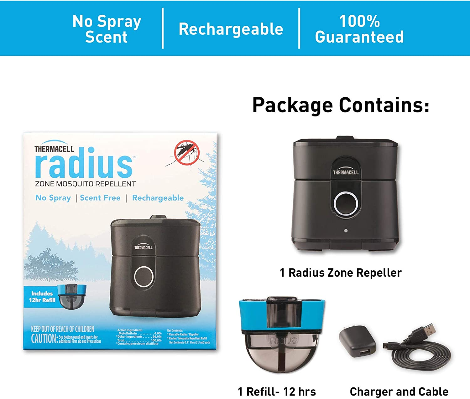Scent and DEET-Free Gen 2.0 Black; No Spray Mosquito Repellent; Rechargeable; Protect Outdoor Areas from Insects for 6.5+ Hours Per Charge; Easy to Use Radius Zone Mosquito Repeller from Thermacell