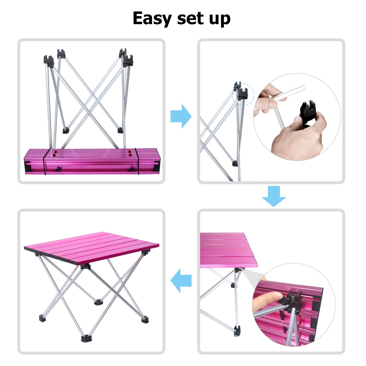 Prefect for Indoor Outdoor Mind and Action Portable Camping Table,Lightweight Folding Table with Aluminum Table Top Fishing BBQ Free Carry Bag Included Hiking Beach Picnic