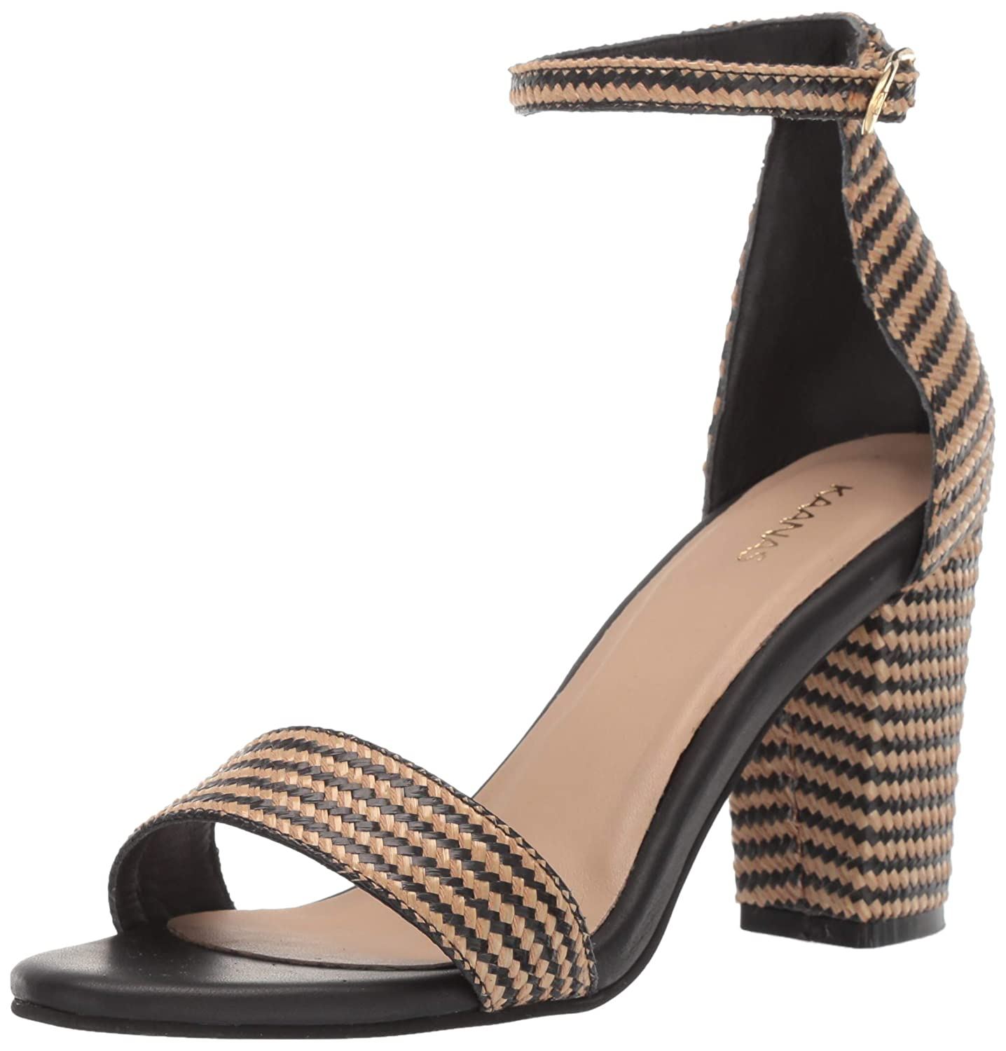 Black KAANAS Womens Glasgow Straw Open Tow Heeled Ankle Strap Sandal shoes Flat Sandal
