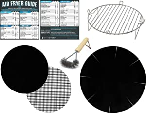 Air Fryer Rack Accessory for 7inch Round Baskets Compatible with Ninja, GoWise, Power AirFryer Oven, Habor, Chefman, Maxi-Matic, Cusinaid, More | Cooking Times Magnet Cheat Sheets + Grill Brush
