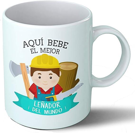 Planetacase Taza Desayuno Aquí Bebe el Mejor leñador del Mundo Regalo Original leñadores Ceramica 330 mL: Amazon.es ...