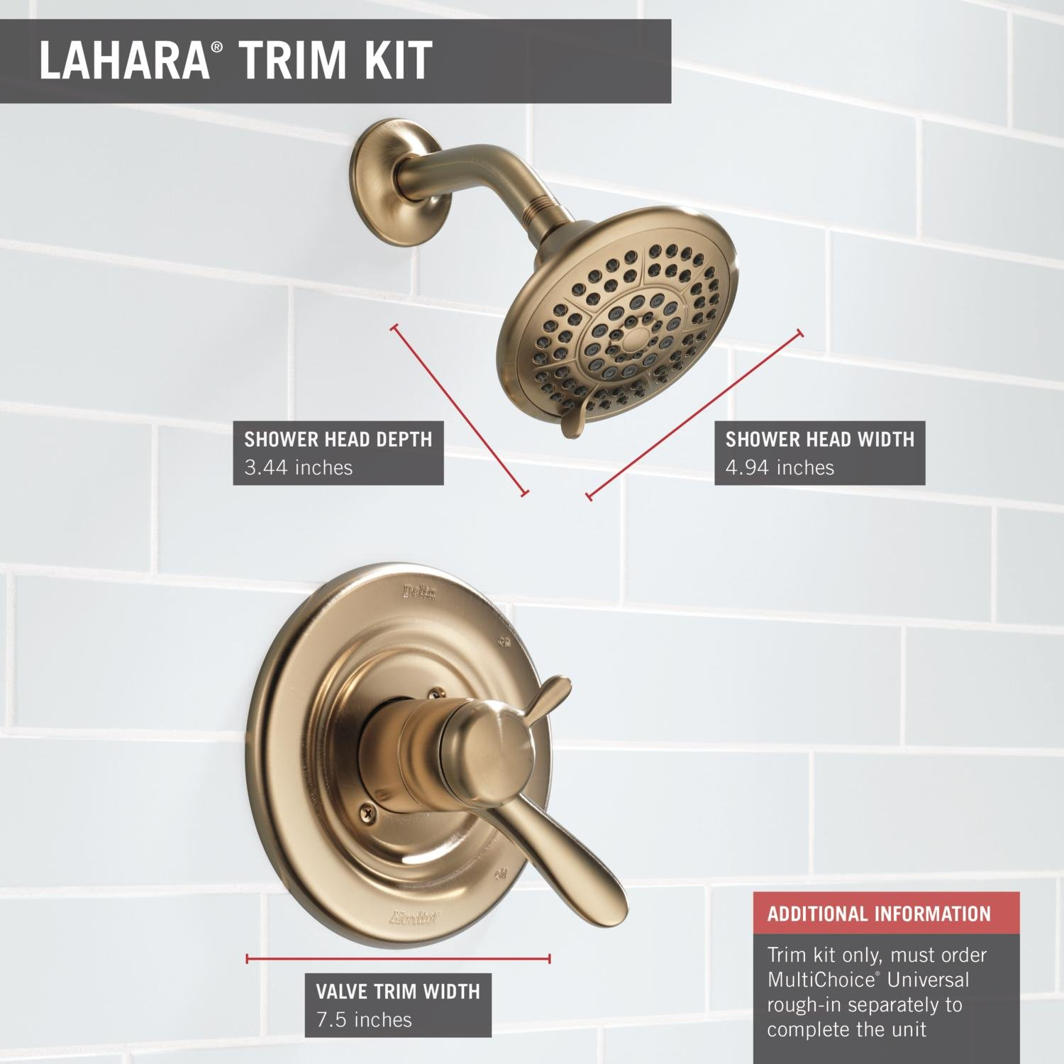 Valve Not Included Delta Faucet Lahara 17 Series Dual-Function Shower Trim Kit with 5-Spray Touch-Clean Shower Head Stainless T17238-SS