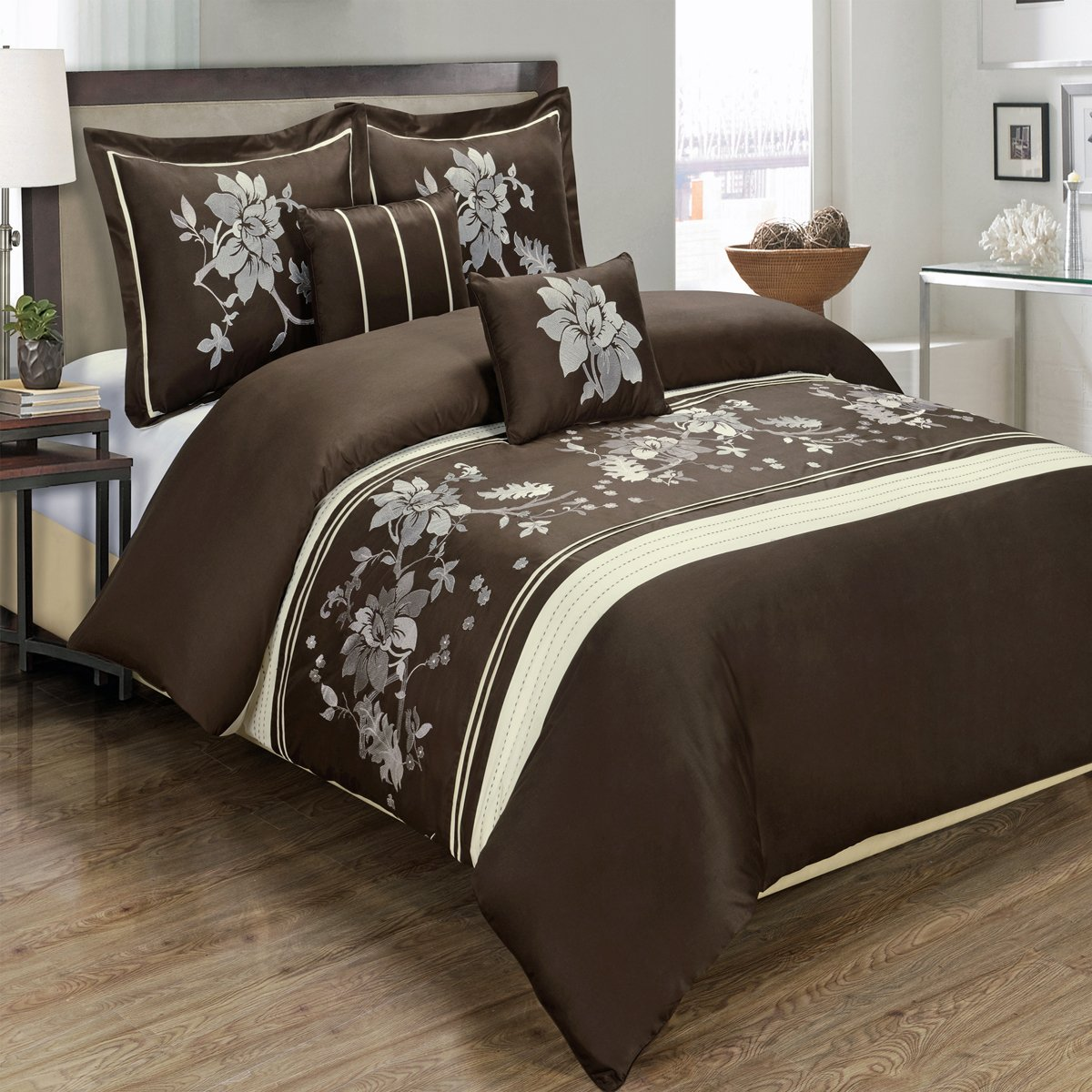 5PC Myra King/Cal-King Embroidered Duvet Cover Set, Chocolate, by Royal Hotel