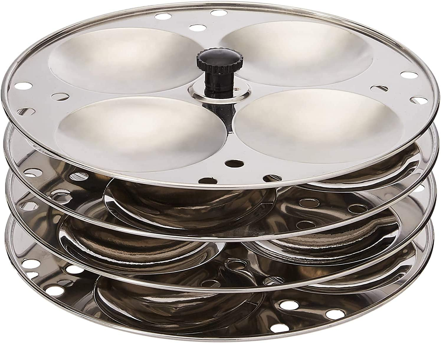 Stainless Steel Plates 4-Rack Idli Stand Makes 16 Idlis idli Stand for Pressure Cooker, Stainless Steel Idli Maker Kitchen Appliances,