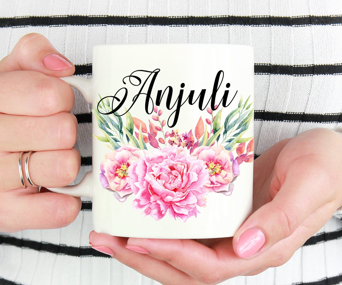 Personalized Name Floral Mug, Custom Gift For Friend