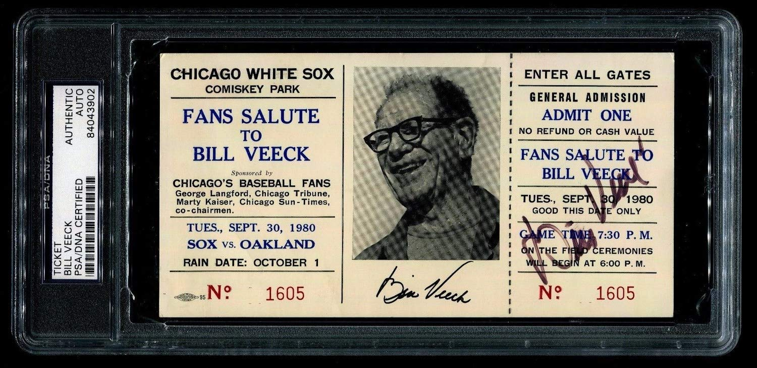 Bill Veeck Autographed Signed White Sox Salute Ticket Rickey Henderson Sb Passes Ty Cobb Memorabilia PSA/DNA