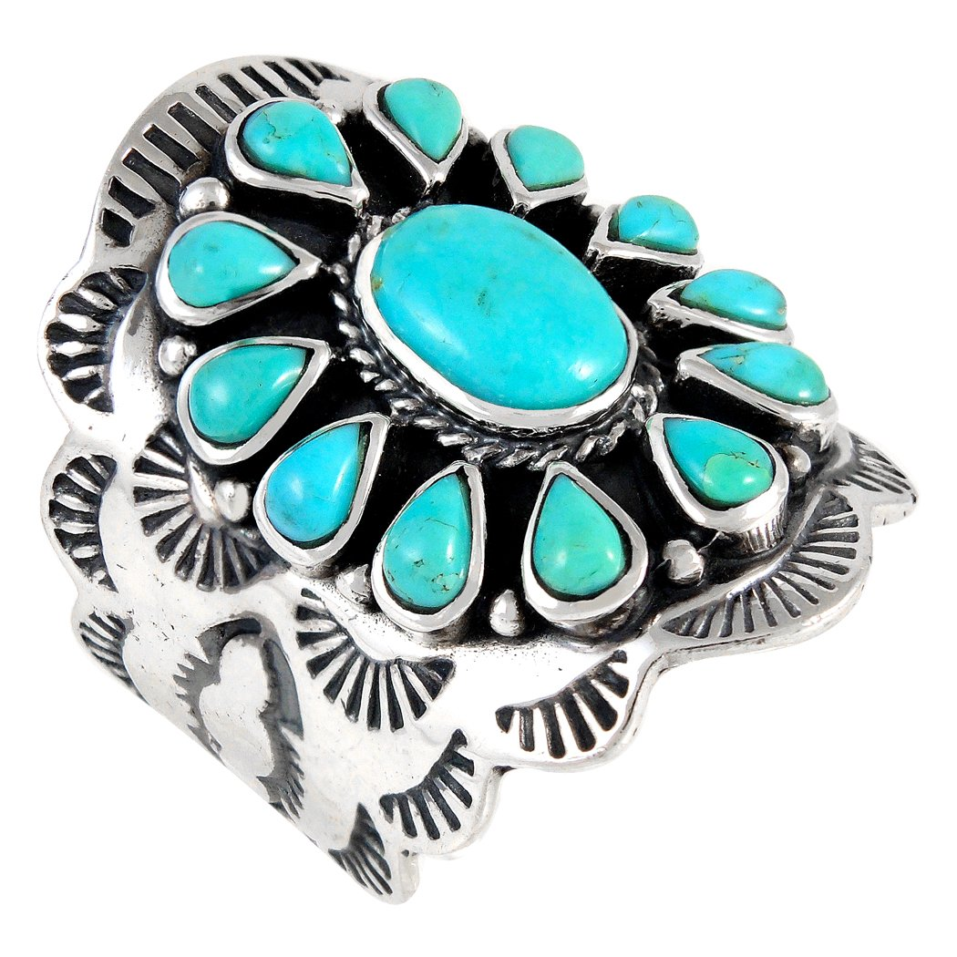 Sterling Silver Genuine Gemstones & Turquoise (SELECT color) (Turquoise, 9)