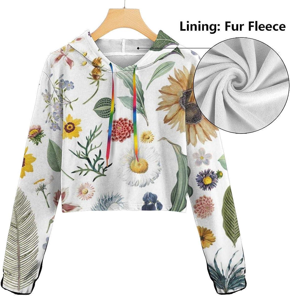 Sunflowers Floral Pattern Womens Long Sleeve Letter Print Casual Sweatshirt Crop Top Hoodies