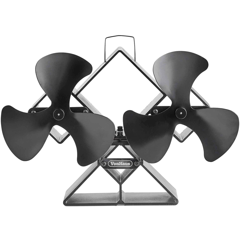 VonHaus Ventilador De Estufa Doble - Cuchillas Dobles Para Mayor Circulación - Para Quemadores De Leña/Madera - Dos Ventiladores Portátiles De 6 Hojas ...