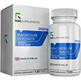 Magnesium Glycinate - 250mg of Bioavailable Magnesium per Serving | 120 Vegetarian Capsules (2 MONTH SUPPLY) - RISE SUPPLEMENTS | High Quality - Made in the UK in ISO Licensed Facilities