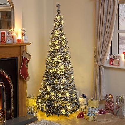 Pre Lit Pop Up Christmas Tree Uk.Pre Lit Snow Flocked Pop Up Christmas Tree 1 8m 200 Warm White Lights