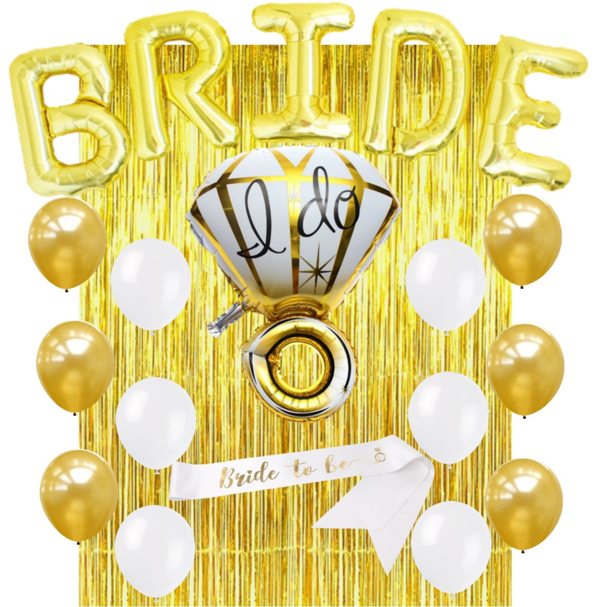 Bachelorette Party Decorations Kit - Bridal Shower Decorations Kit – Set Includes: 1 Mylar Ring Balloon - 5 Letter Balloons - Foil Fringe Curtain - 1 BRIDE TO BE Sash - 12 Latex Balloons