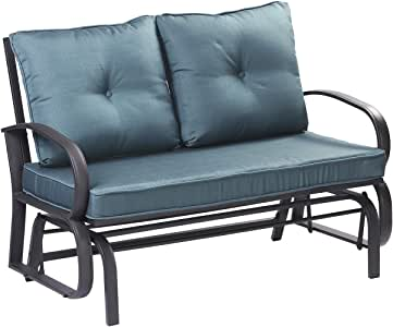 Patio Loveseat Outdoor Swing Glider Rocking Bench for 2 Person,Garden Rocking Seating Steel Frame Chair Set with Cushion (Blue)