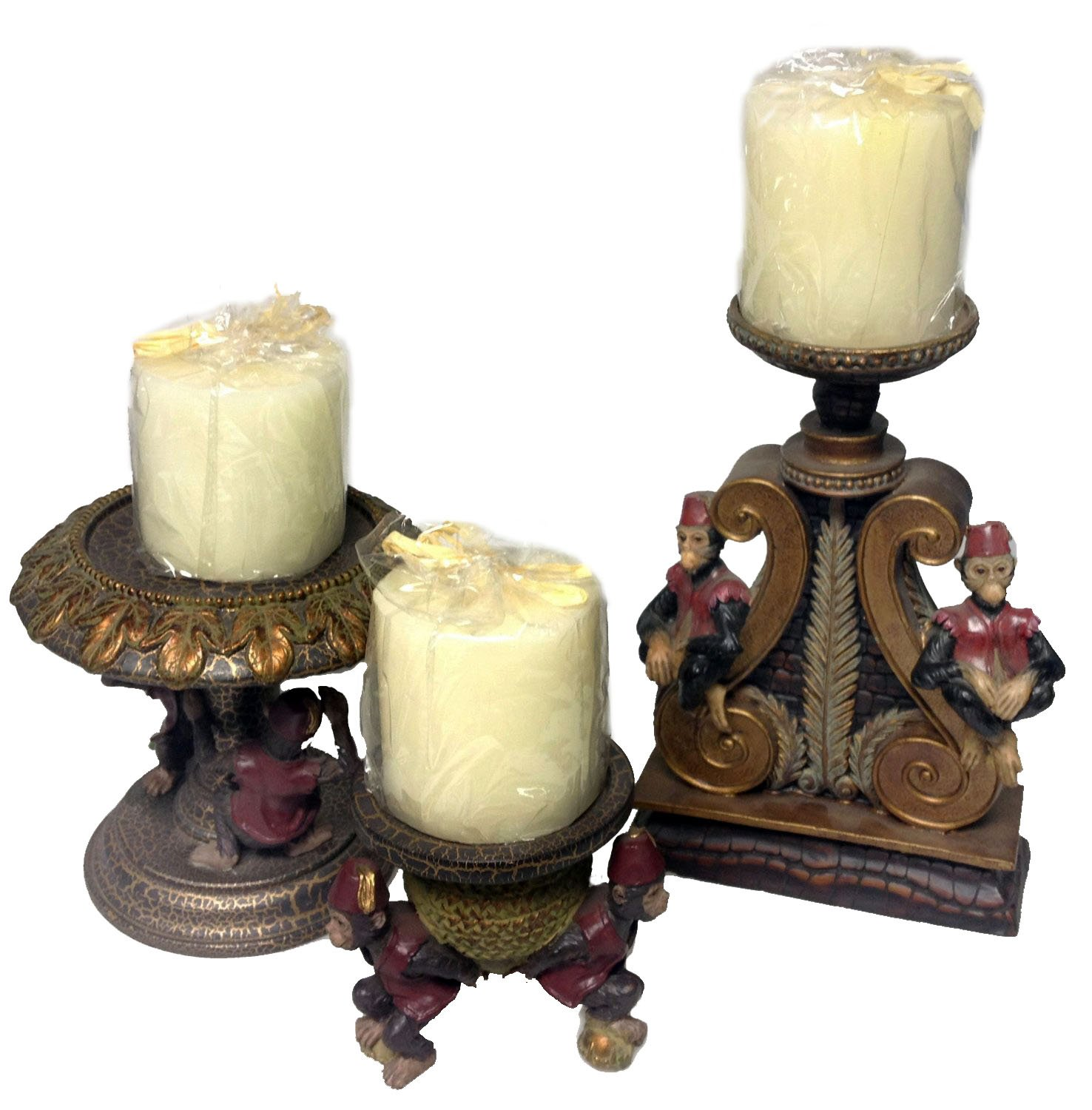 Carnival Monkey Candle Holder Set by House of Zog