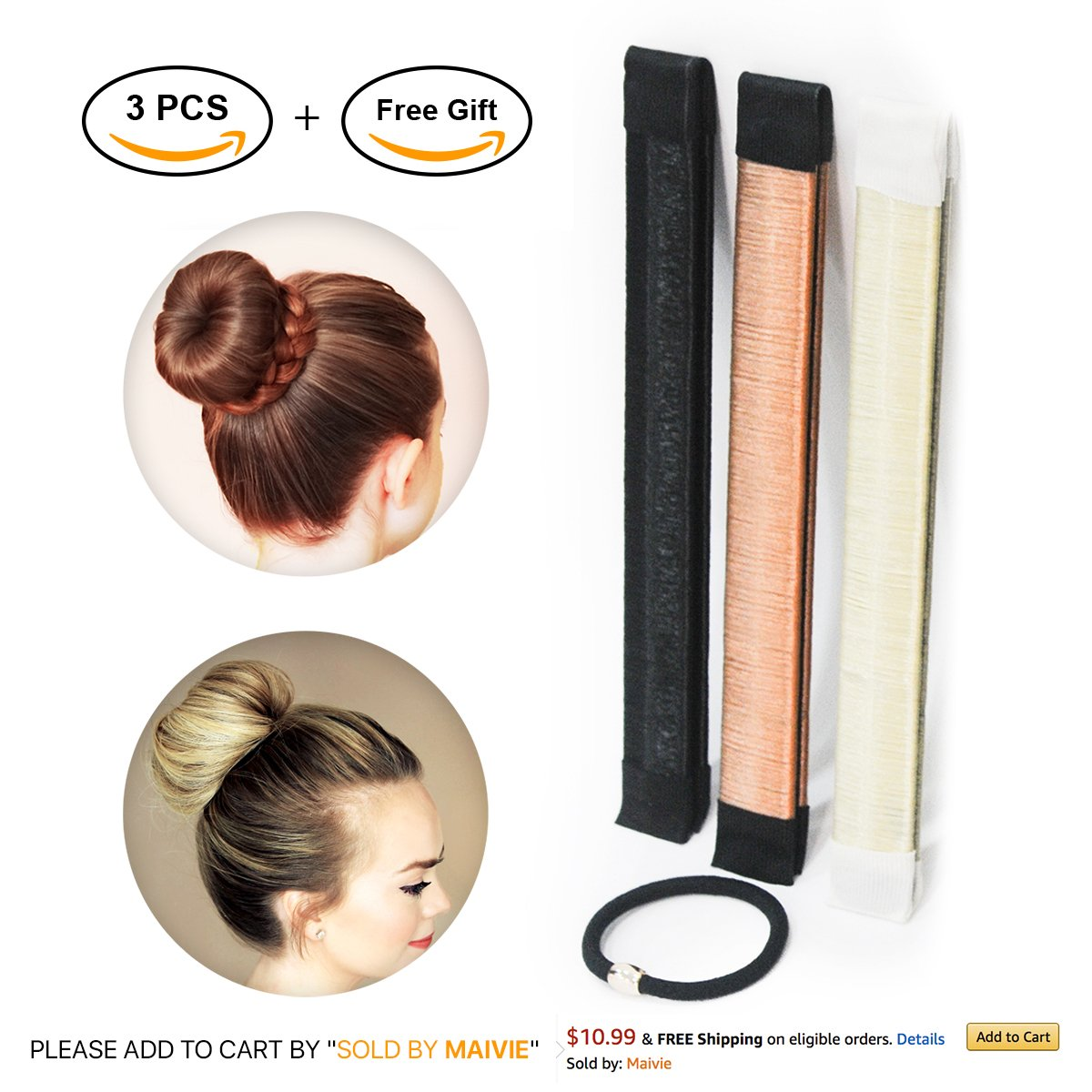 Hair Buns Maker - Fast Messy Perfect Sock Bun Magic Curler Clip French Donut Twist Shaper - Easy DIY Accessories Styling Tool for Women Girls - 3 PCS (Black, Blonde, Brown color) and 1 Hair Tie by Maivie