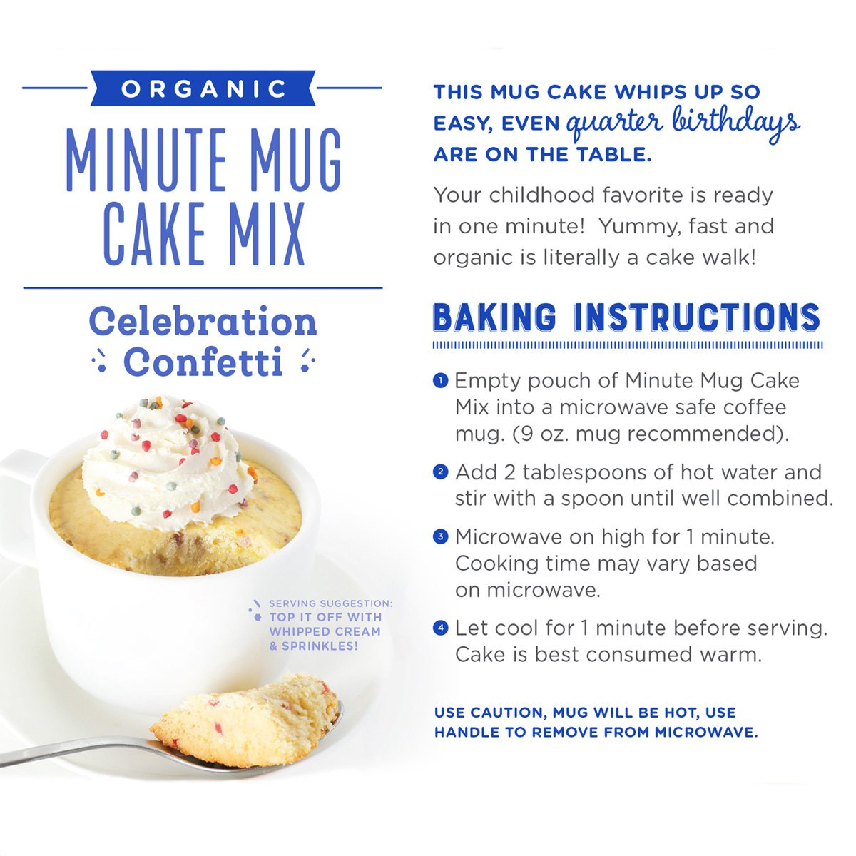 Amazon Com Foodstirs Organic Non Gmo Minute Mug Cake Mix Celebration Confetti Cake 2 54 Ounce Pack Of 4 Grocery Gourmet Food