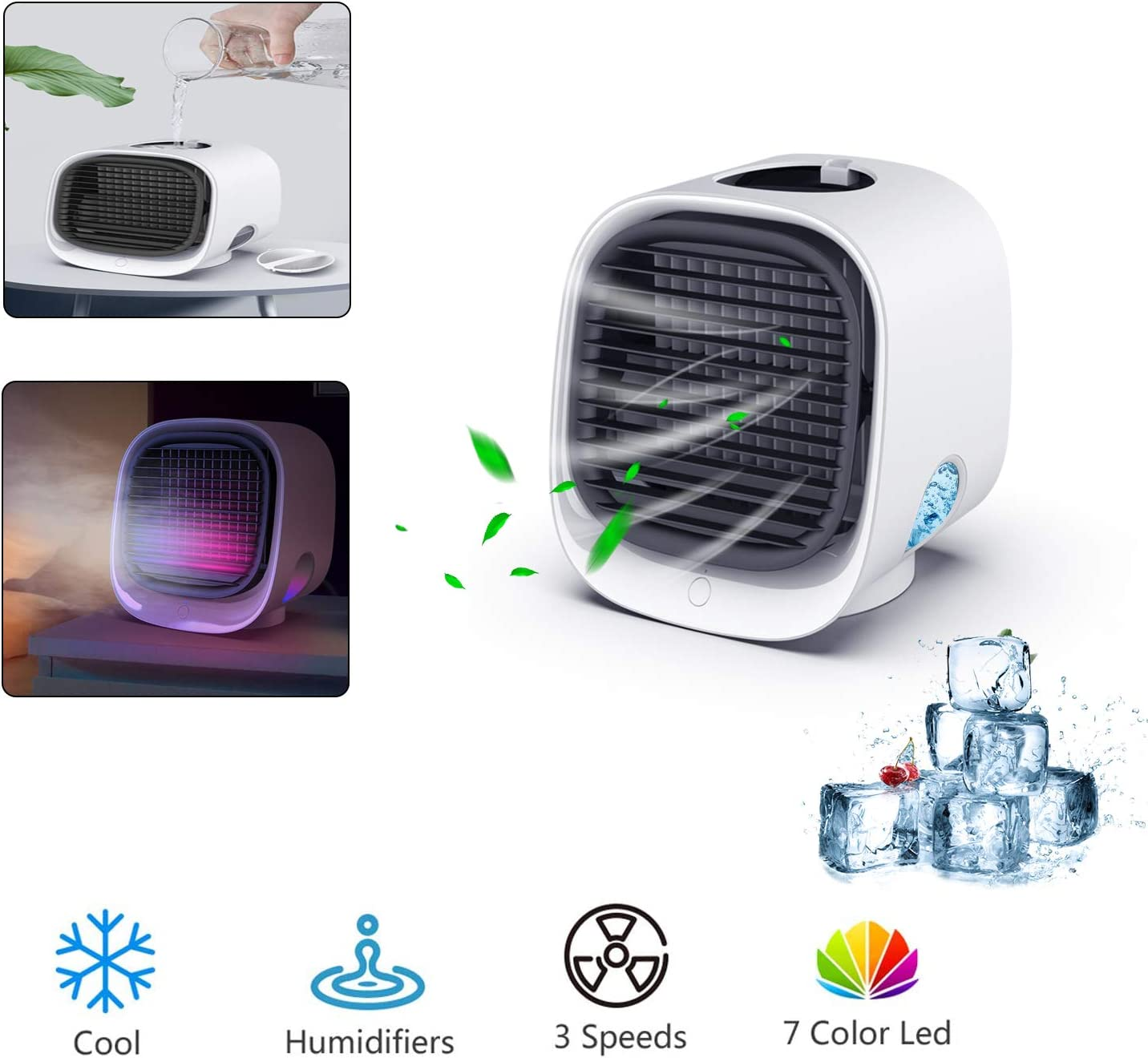 Portable Air Cooler,4 in 1 Personal Desk Cooling Fan Space Anion Air Purifier Humidifier with Icebox,3 Speeds,Colorful Night Light and handle for Home Office Bedroom,Adjustable Angles