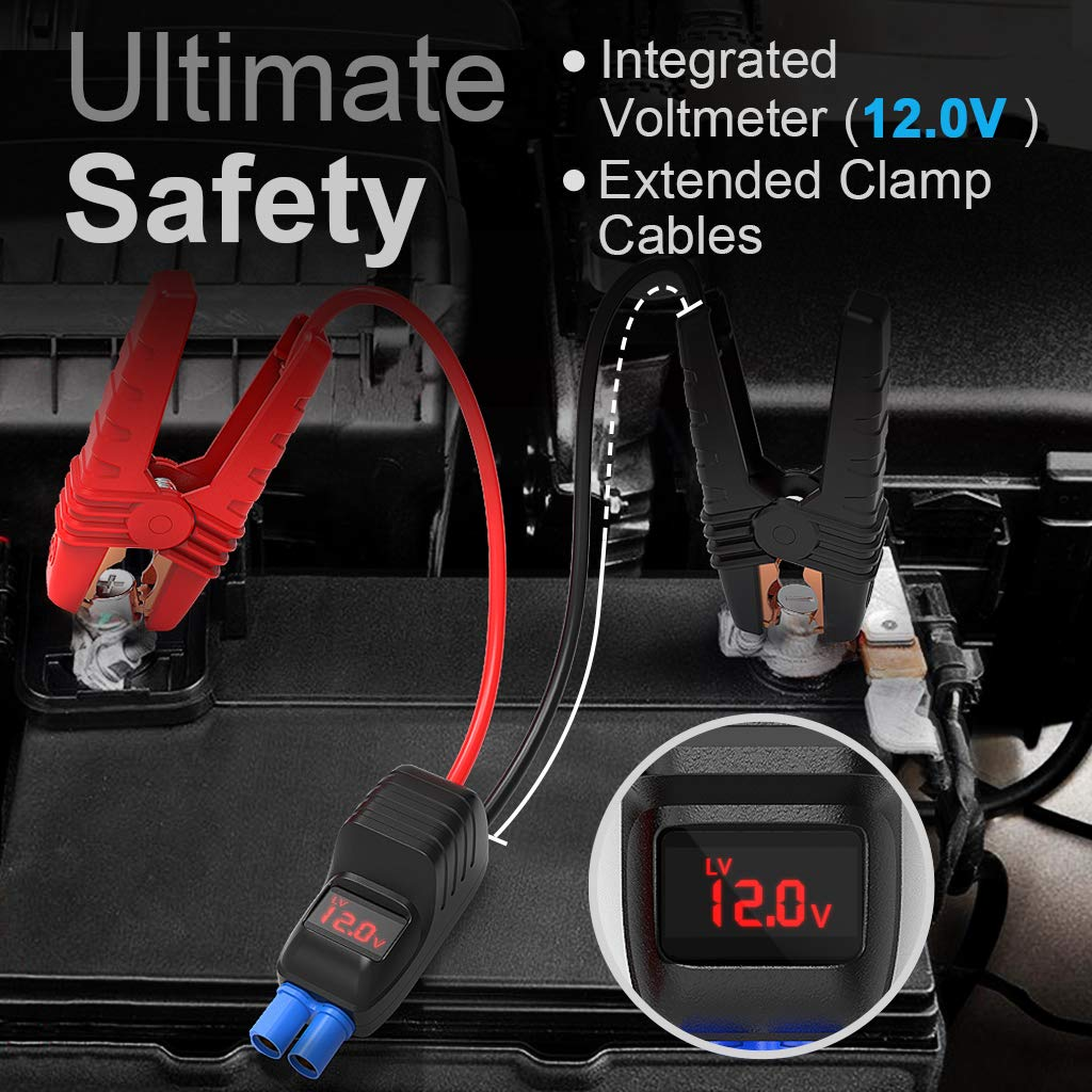 LEMSIR QDSP 1500A Peak Portable Car Jump Starter 12V Auto Battery Booster up to 8.0L Gas or 6.2L Diesel Power Pack with Smart Jumper Cables V2