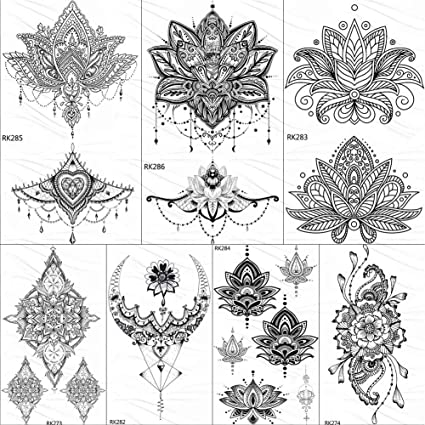 KAMRL Tatuaje Falso Tatuaje Brazo Negro Tatuaje Mandala Flor ...