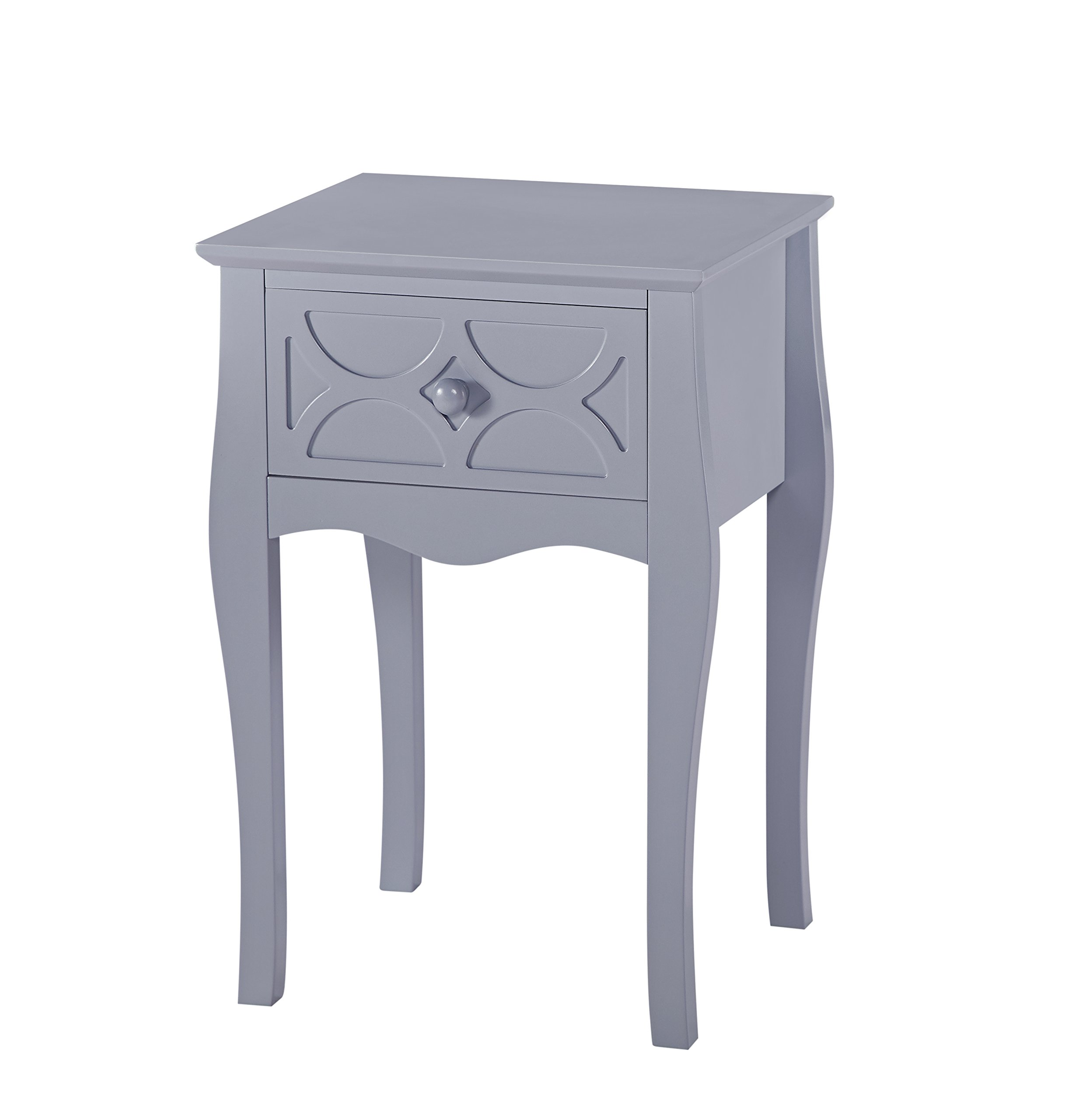 Grey Finish Checker Front Design Nightstand Side End Table with Drawer - Color: Grey Material: MDF/Hardwood Features one drawer for storage with checker pattern design on the front - living-room-furniture, living-room, end-tables - 71FmPiZnYAL -