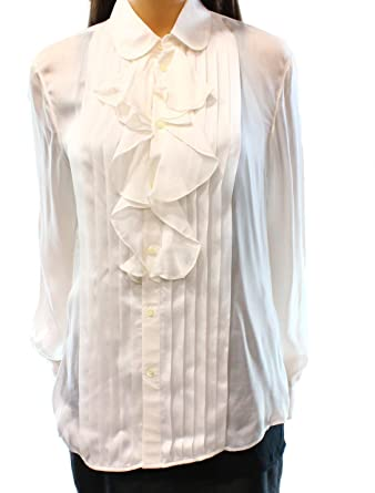 aae62ab546a026 Ralph Lauren $245 White Shirt Collar Cuffed Wear to Work Button Up Top 8  B+B at Amazon Women's Clothing store: