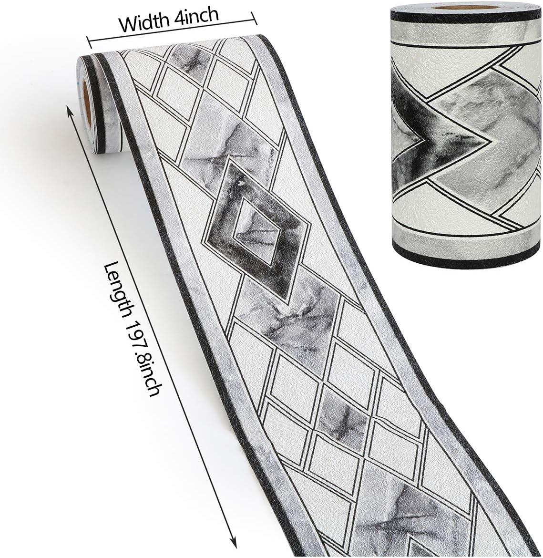 Wasserdichte PVC Klebe Tapete Bord/üre Wanddeko Bord/üre f/ür Bad K/üche Wohnzimmer Decke Joqixon Tapetenbord/üre Selbstklebend 3D-Relief Bord/üre Tapeten Deko 10 x 500cm Wei/ß