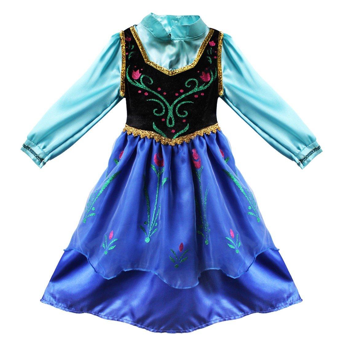 iEFiEL Bambina Principessa Partito Regina delle Vestito Bimba Travestimento Abiti Partito Mantellina Vestito per Ragazza Performance Festa Spettacolo Grazioso 2-8 Anni