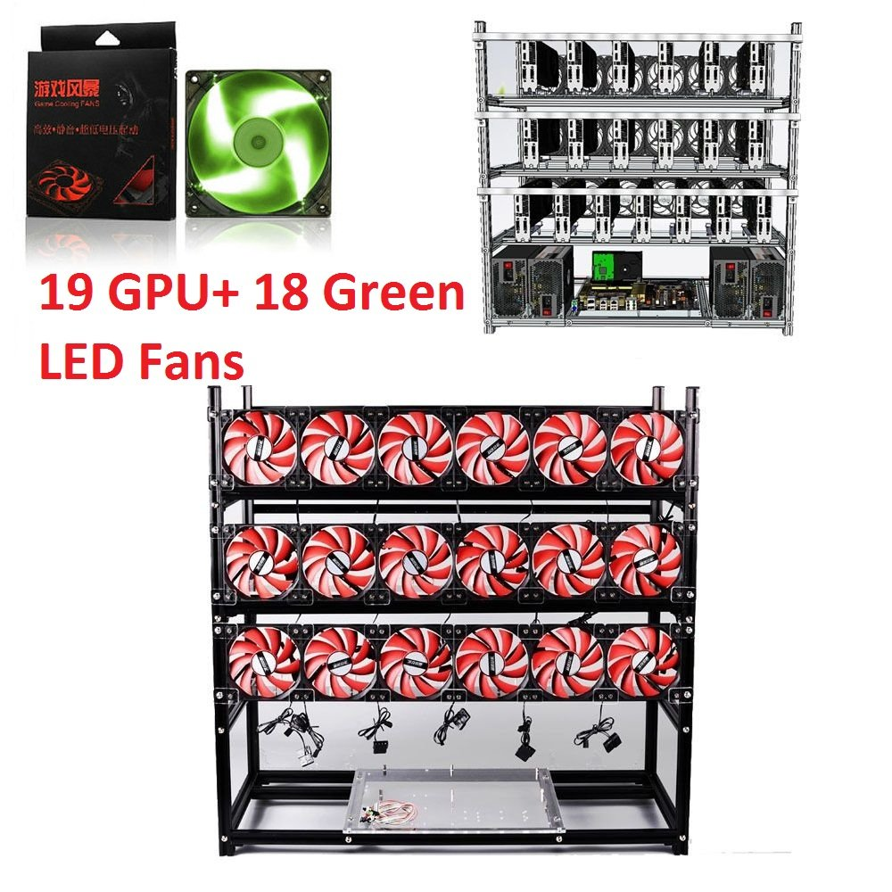 19 GPU Open Air Mining Rig Aluminum Stackable Frame Case Cryptocurrency Miners With 18 Fans For ETH/ETC/ ZCash Ethereum,Bitcoin,and Altcoins (Black-Green)