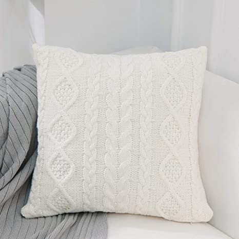 Algodón Tejido de Punto Soft Decorativa Cuadrado Fundas de ...