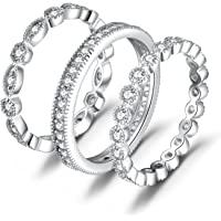 JewelryPalace Anillos Mujer Plata Diamante Simulado, Anillos Apilables de Compromiso Plata de ley 925 Mujer Oro, Promiso…
