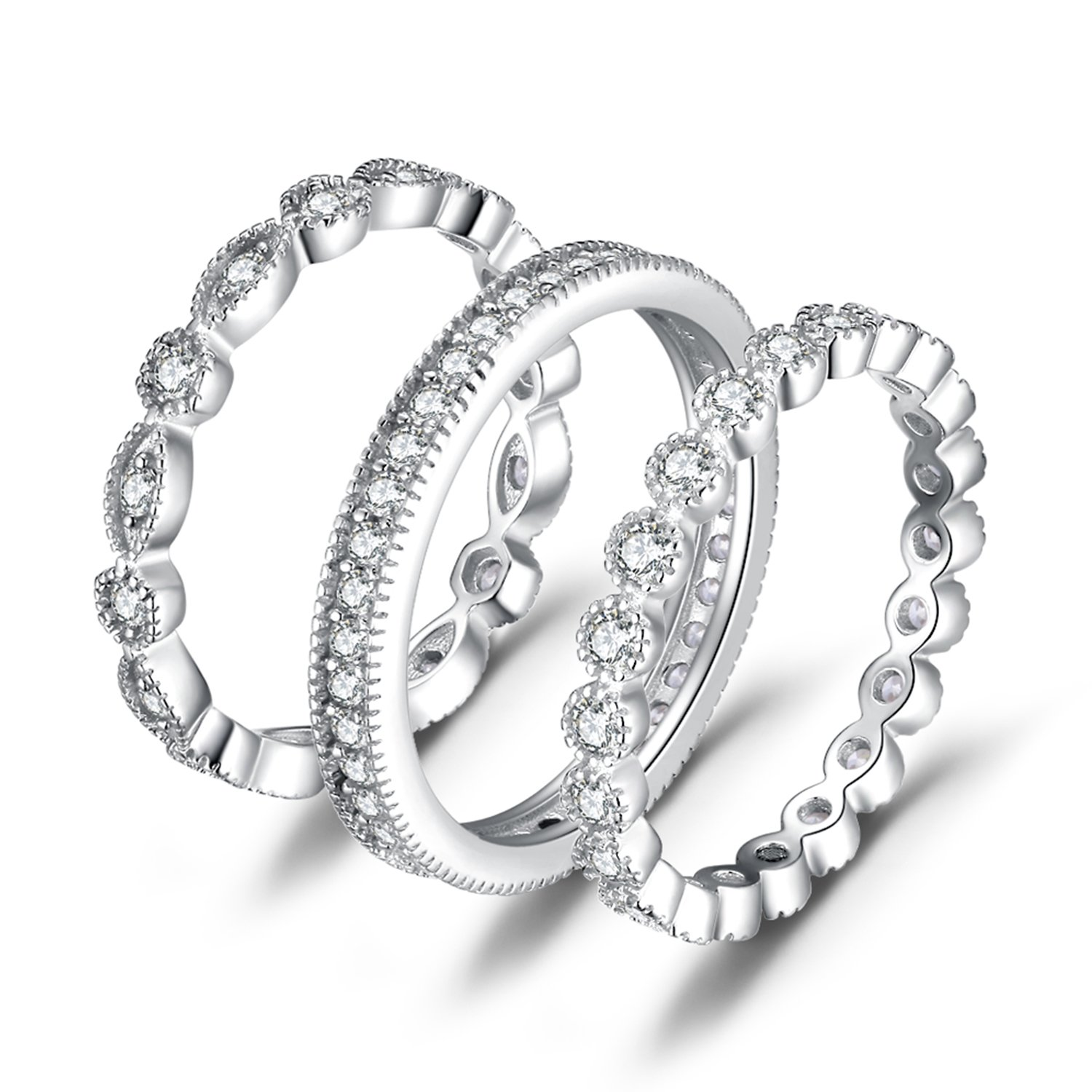 JewelryPalace Wedding Bands Rings Anniversary Eternity Bands 3 Stackable Rings Cubic Zircoina Engagement Bridal Milgrain Marquise Infinity 925 Sterling Silver Ring Sets for Women Size 7 by JewelryPalace