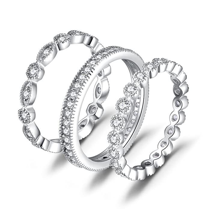 08897ccf09887 JewelryPalace Wedding Bands Wedding Rings For Women Anniversary Eternity  Bands 3 Stackable Rings CZ Engagement Bridal Milgrain Marquise Infinity 925  ...