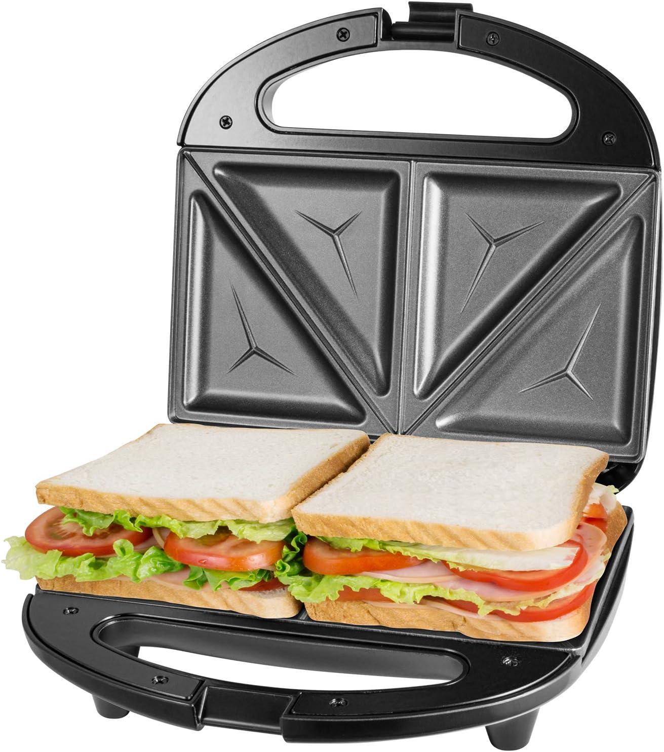 Sandwichera antiadherente 750W acero inoxidable