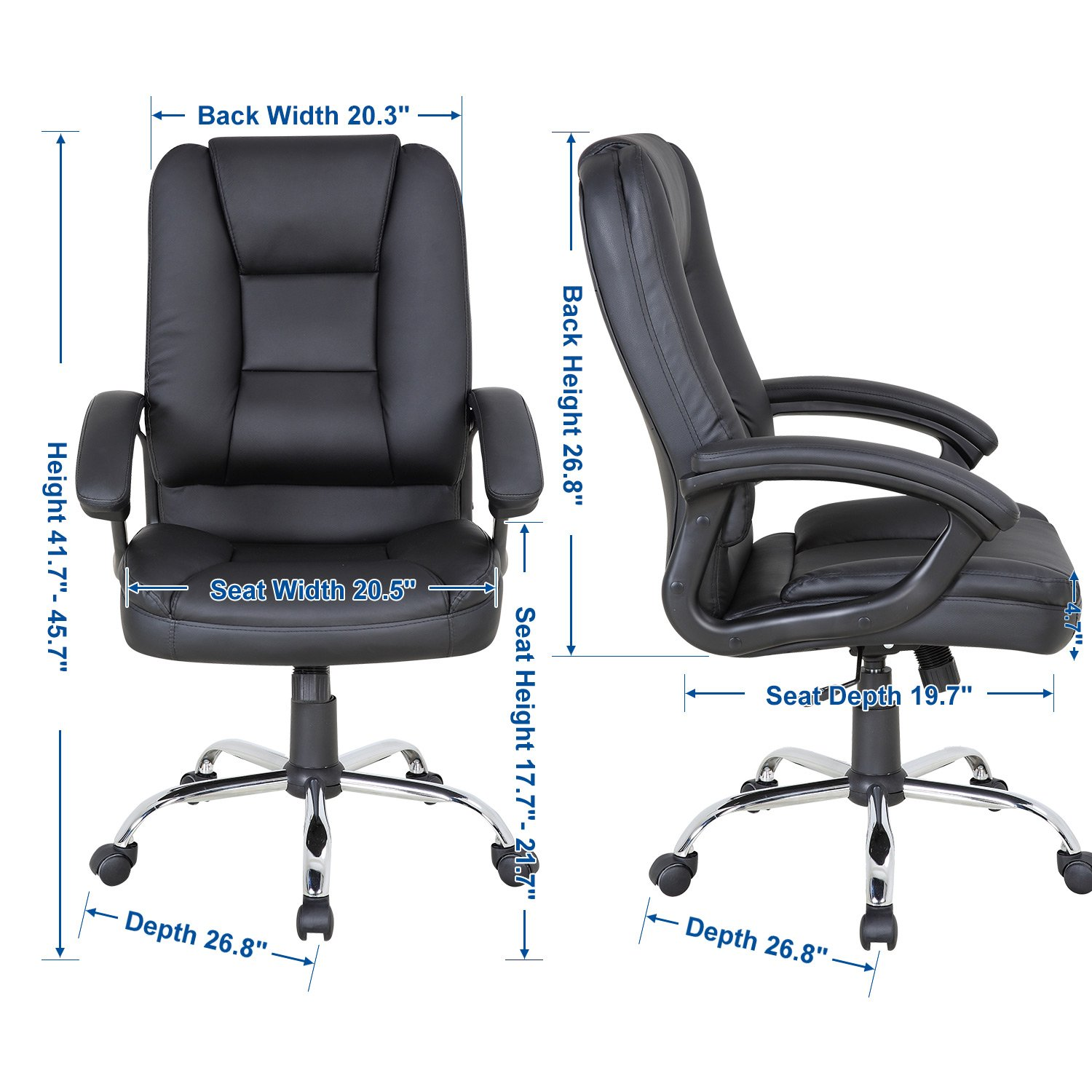 LCH PU Leather Office Chair Swivel Executive Chair with Tilt Function and Thick Seat, Ergonomic Computer Chair Headrest and Lumbar Support (Black) by LCH (Image #6)