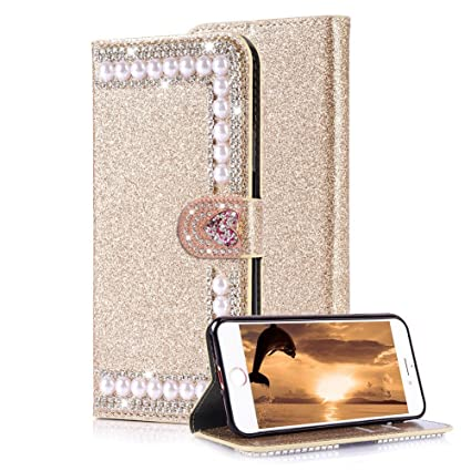 half off e5d90 8d208 Aearl iPhone 7 Plus Diamond Wallet Case For Women,For Apple iPhone 8 Plus  Shiny Gold Cover,Luxury Fashion Glitter Sparkle Bling Crystal Rhinestone ...