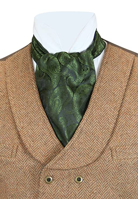 Steampunk Ties Historical Emporium Mens Satin Paisley Ascot $25.95 AT vintagedancer.com