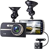 Sebikam Full HD Car Dash Cam | 1080p Front + VGA Rear 290 Degree Super Wide Dashboard Camera with 4'' Screen, G-Sensor, Parking Mode, Loop Recording, Night Mode & More! Included 32GB MicroSD Card!