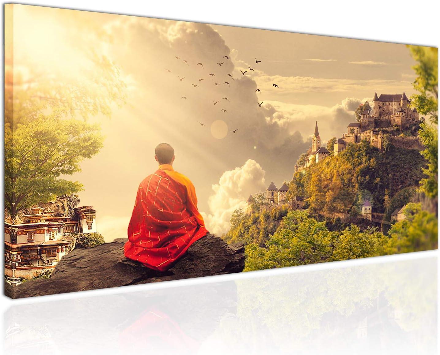 Cuadro XXL sobre Lienzo, Imagen Panorámica 100x50cm, Meditación al Atardecer, Monje Tibetano, Templo Montañas - Decoración de Pared, Imagen Panorámica - Una Pieza