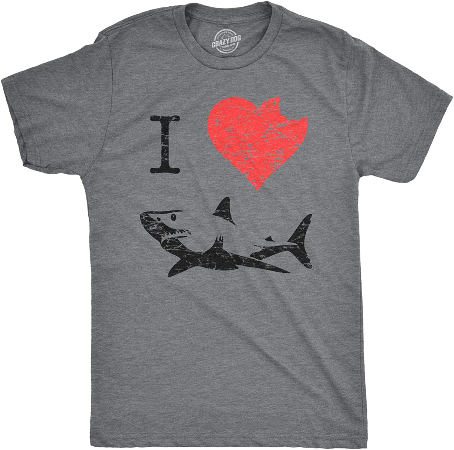 I Love Sharks T Shirt Daddy Shark Funny Graphic Tee Gift for Dad Vintage Tee