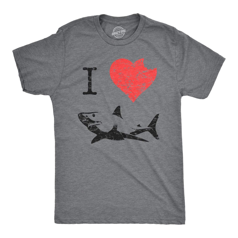 I Love Sharks T Shirt Heart Classic Shark Bite Ocean Great White Tee