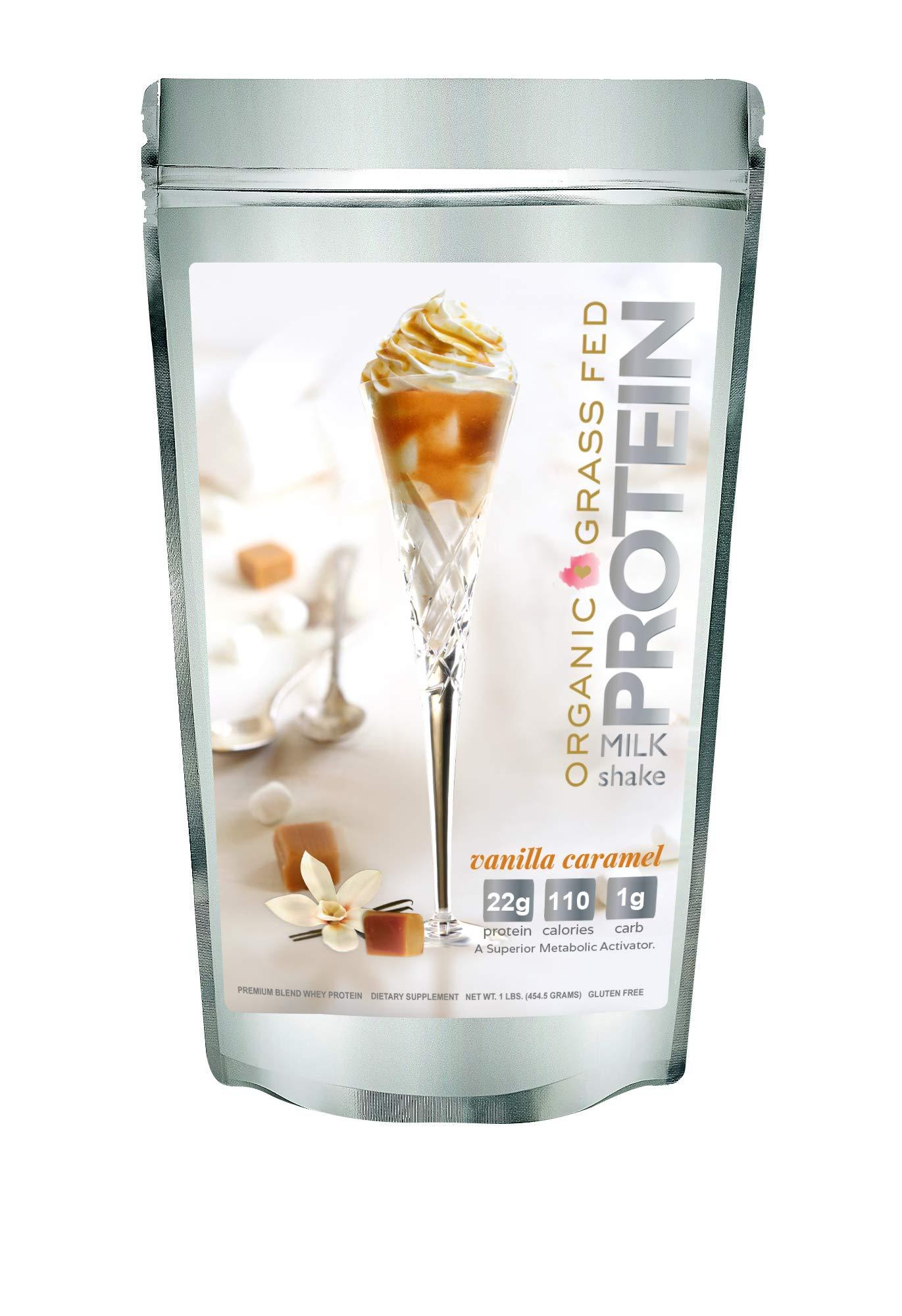 Protein Milkshake Low Carb Protein Powder - Vanilla Caramel 100% Premium Whey Protein, 15 Servings - 1 LB