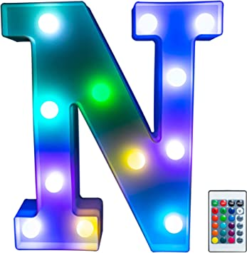 Foaky Colorful LED Letter Lights with Remote, Light Up Letters Sign for Night Light Wedding/Birthday Party Battery Powered Christmas Lamp Home Bar Decoration(N)
