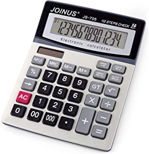 Large 14-Digit LCD Display Desktop Calculator with Check & Correct Function, Solar Battery Dual Power Calculator, Large Computer Keys Electronics Calculator for Office School Calculating