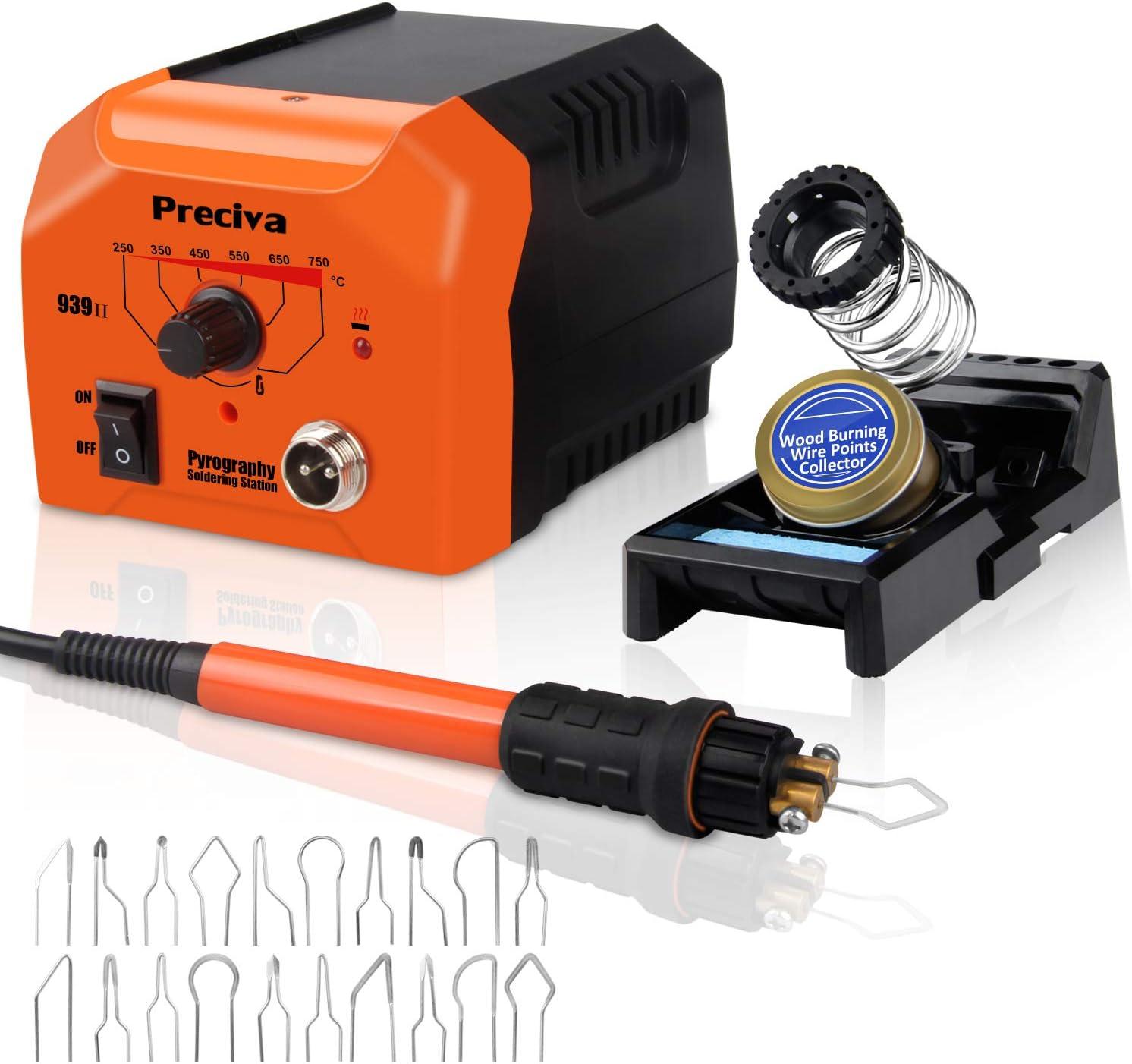 Kit de Pirograbador de Madera,Preciva 40W/220V Máquina de Pirografía de Temperatura Ajustable,Soldador Pirografo Electrico Profesional para Madera,Cuero y Corcho.