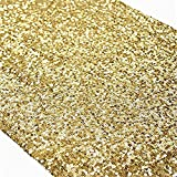 TRLYC 5Pcs 12 by 108-Inch Gold Sequin Tablerunner