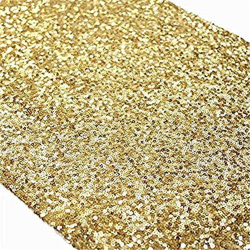 TRLYC 1PC 12 By 72 Inches Gold Sequin Table Runner Home Party Wedding Table Decoration -
