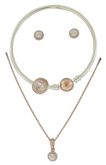 db8dc5813c6 Amazon.com: Pandora Sterling Silver ROSE Jewelry Gift Set in Travel Box  B800708-19: Jewelry