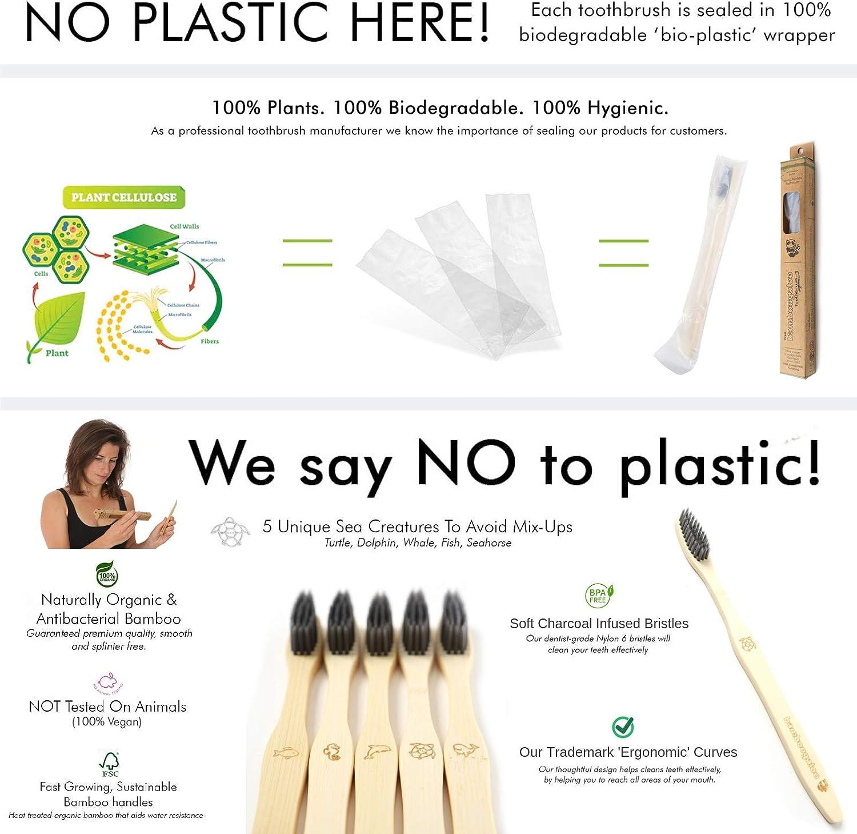 BAMBOOGALOO Cepillo Dientes Carbón Bambú Orgánico x5 -Cepillos de ...