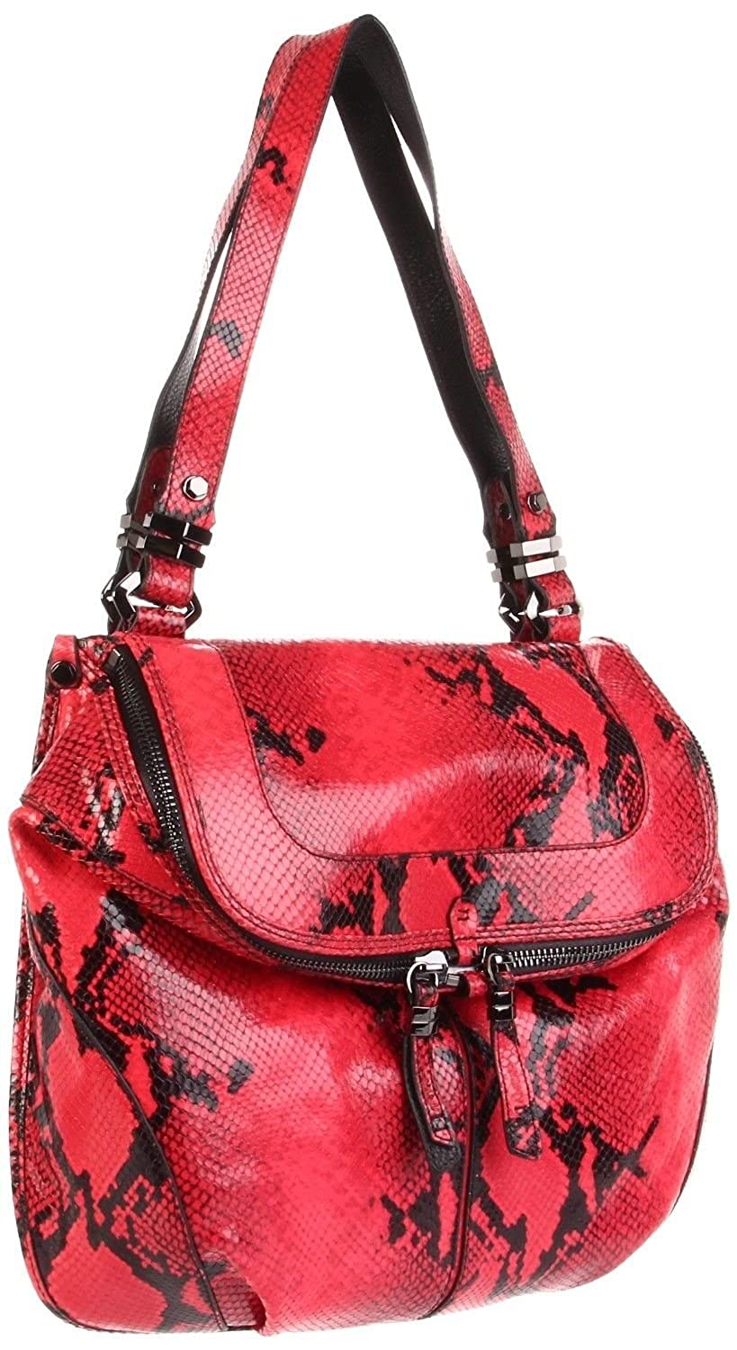 ORYANY Raspberry Snake Embossed Leather Shoulder Handbag Bag ZP968 NWT
