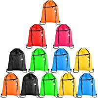 KUUQA 12Pcs Drawstring Backpack Bags with Zipper Pocket and Headphone Hole Sports Gym Cinch Sackpack String Tote Bag…
